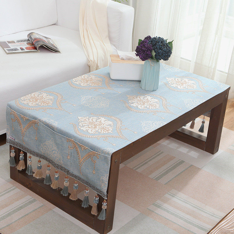 Online shop nordic style tea table cloths with small storage bag luxury table cloth europen jacquard toalha de mesa small tablecloth pocket design hanging dinning bedside cabinets watchthetrailerfo