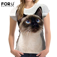 FORUDESIGNS T Shirt Women Top Shirts Cute Siamese Kitten Cat Teen Girls Clothes Female Kawaii T