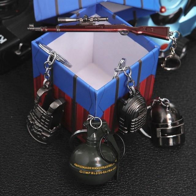 Game PUBG Keychain Cosplay Prop Metal Accessories Pan Backpack Key Ring Helmet 98K Key Chain