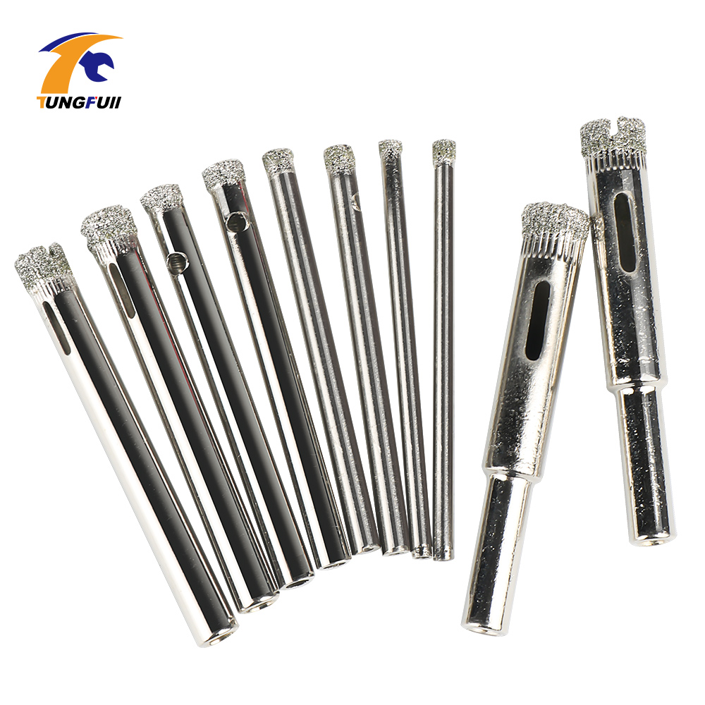 Tungfull Drill Attachment 10pcs New Diamond Coated Hole Saw Granite Glass Tile Marble Core Drill Bits 3mm 4mm 5mm 6mm 8mm