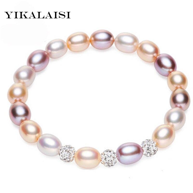 5cfb01ba4c56 Yicalaisi perlas de agua dulce naturales bolas de cristal encanto pulsera  joyería de moda para mujeres 7-8mm perla forma de gota 2 color