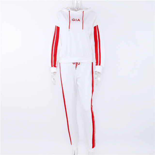 Women's suits 2018 Autumn 2 Piece Set Women Tracksuit Sportswear Casual White Red Sweat Pants Hooded Cropped Sweatshirt Hoodie 5