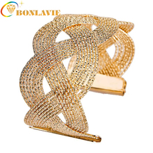 HOT Elegant Fashion Women's Punk Style Big Wide Gold Color Cuff Bangle Bracelet Women Jewelry Wedding pulseiras feminina