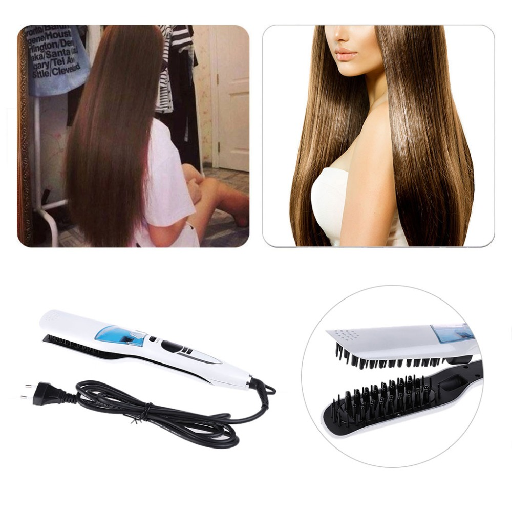 цена на Electric Professional Heated Ionic Vapor Steam Hair Straightener Comb Style Tool AU/EU/US/UK Plug