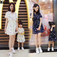 Famli 1pc Family Look Girl Mother Dress Summer Fashion Matching Mom Baby Kids Short Chiffon Floral