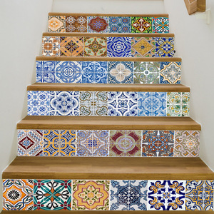 Image 4 - Tiles Stairs Stair Vinyl Wall Decal Wall Stickers For Home Decoration Removable Stair Stickers  Landscape Decor Ceramic Pattern