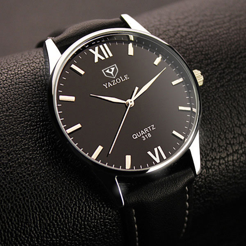 Quartz Watch Men YAZOLE Brand Luxury Famous Wristwatches Male Clock Leather Wrist Watch Business Fashion Casual Dress Watches silver watches men women luxury brand famous quartz wrist watches for men leather waterproof business fashion casual dress watch