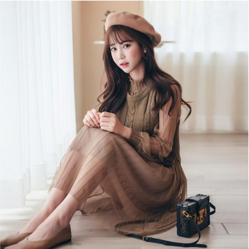 2018 New Winter Dress Pink Sweater Vest 2 Pcs Best Quality Women Dress Set Office Lady Hot Sale Elegant Girl Style Soft Dress