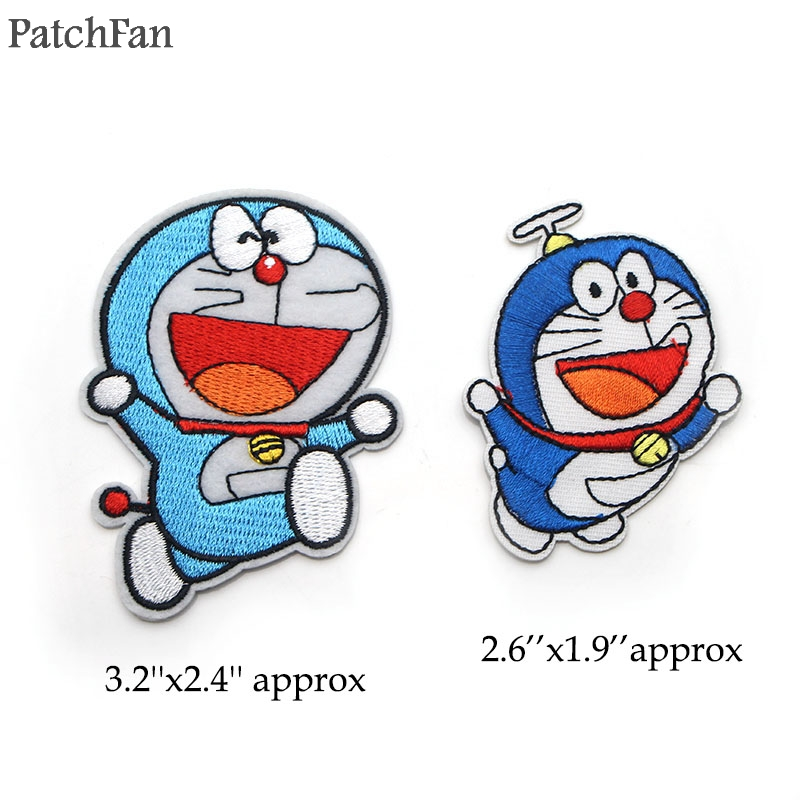 A0416 Patchfan Classic cartoon Doraemon Iron on Patch Clothing diy Embroidered Sewing Applique Apparel Patchworks