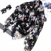 New Woman's Cashmere Scarf Length 79″ 200cm Shawl Butterfly and Magnolia Flower Pattern Black Color Scarf High Quality DG169118