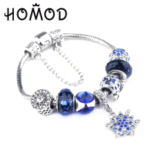 HOMOD 2019 Trendy Silver Brand Charm Bracelet Christmas gift For Women Blue Crown Beads Female Pulseras Mujer
