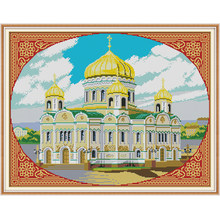 NKF Cathedral of Christ the Saviour Counted Cross Stitch Patterns 11CT 14CT Chinese Cross Stitch Kits for Embroidery Home Decor(China)