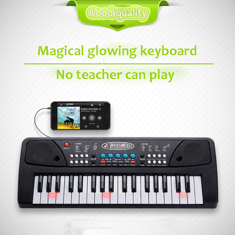 Multi-function electronic children's toys 37 key girls beginner entry piano 3-6 year old baby puzzle early education machine puzzle multifunctional piano baby early education music hand drums intelligent piano toys