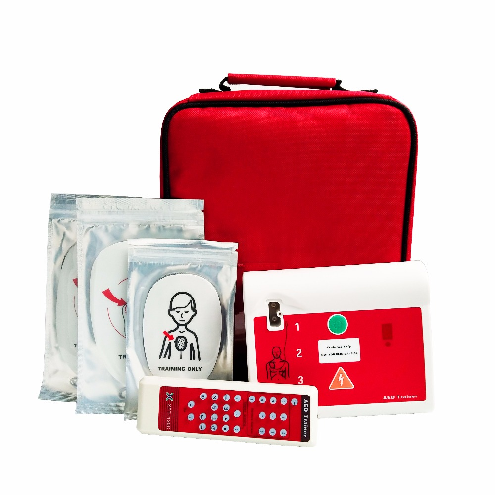 AED Trainer/Simulator First Aid Nursing Teaching Simulation For Emergency CPR Teaching With Remote Control In English And French aed trainer 2pcs lot first aid training kit emergency cpr teaching simulating machine with electrode pads in english and french