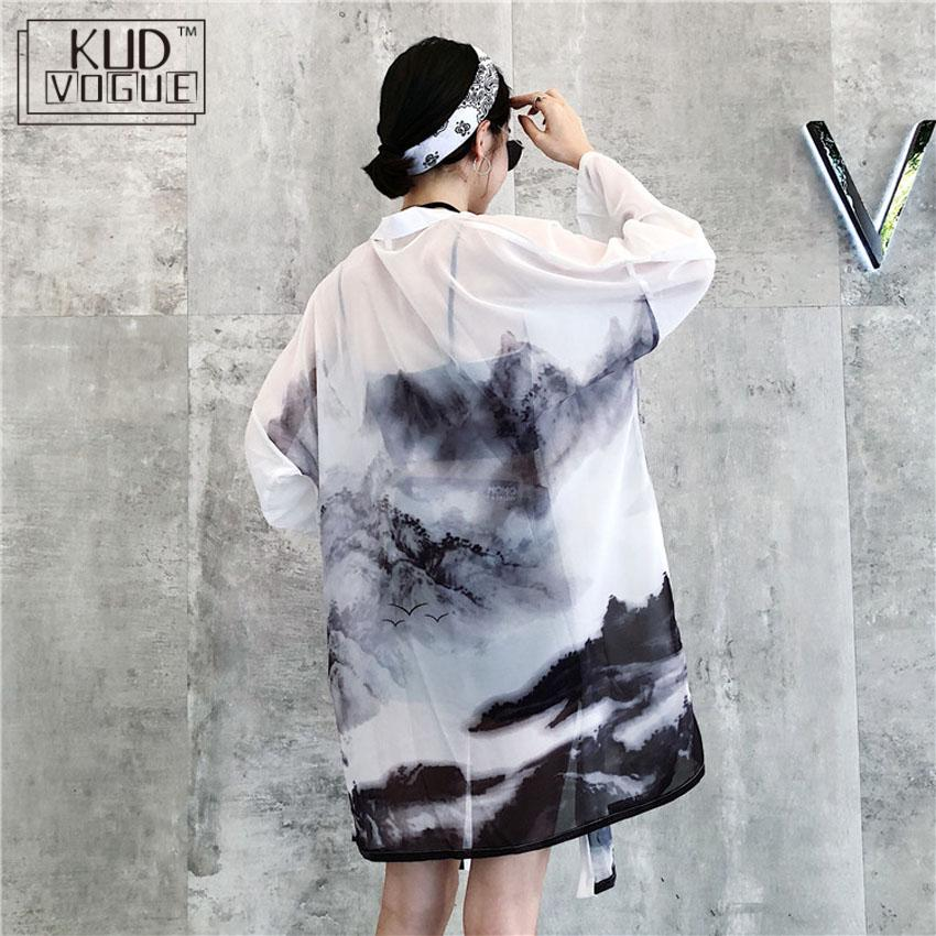 Japanese Traditional Kimono Cardigan 2019 Sunscreen Woman Chinese Oriental Ink-wash Painting Thin Long Robe Coat Haori Outfits