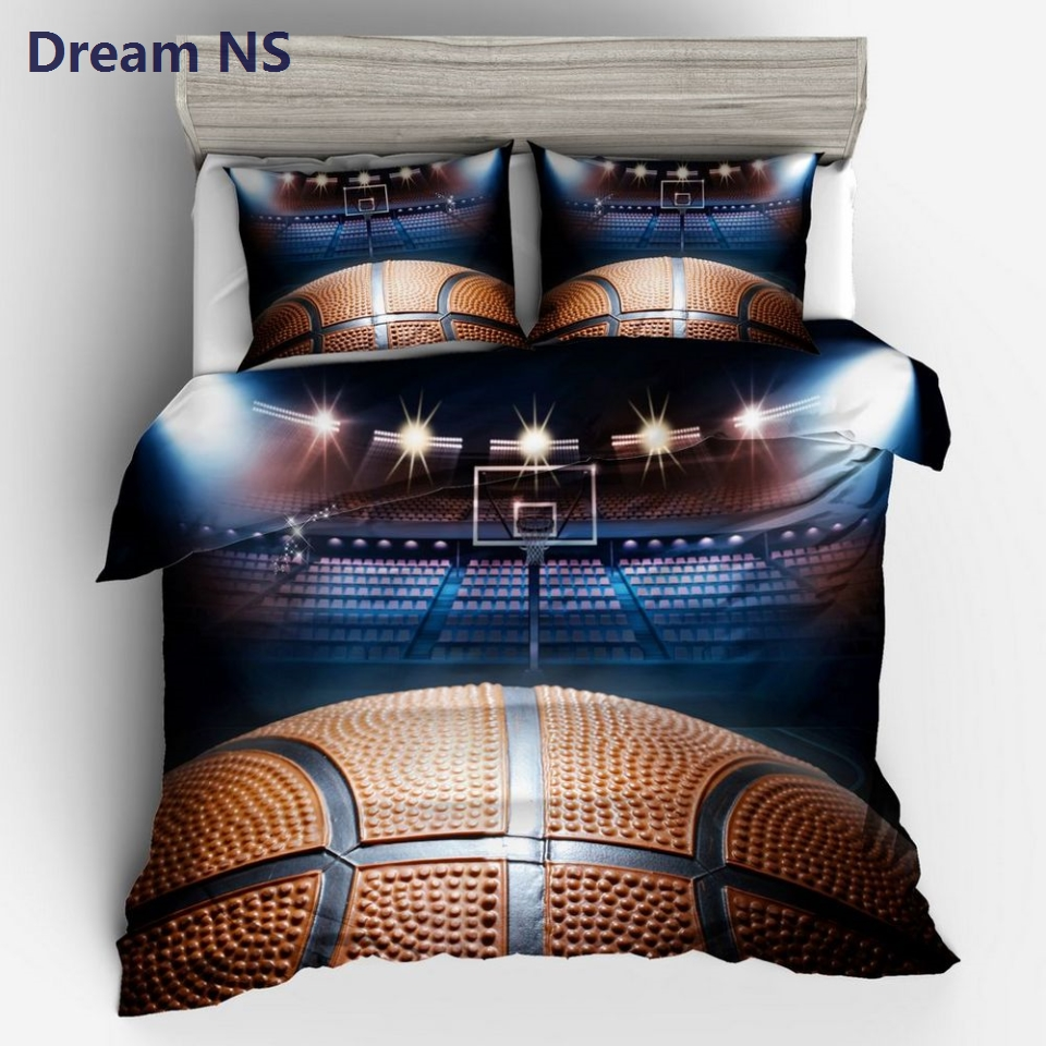 AHSNME Brilliant Basketball Duvet Cover Set Basketball Fan Bedding Sets Pillowcase 3d Ball Game Printed Bedclothes King Twin