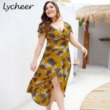 f8f93d11786 Lycheer Plus Size Boho Leaf Print Women Long Maxi Summer Dress Big Size  Short Sleeve Ruffle Yellow Dresses Holiday Beach Vestido