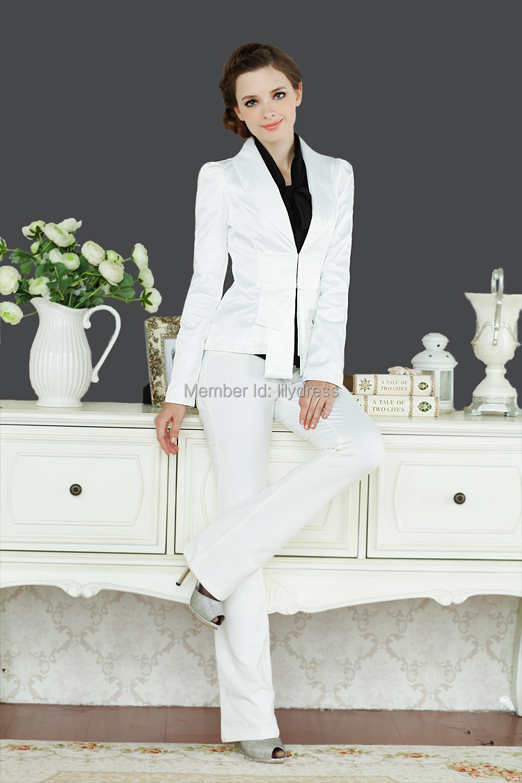 Tailored Slim Fit White Sexy Fashion Formal Office Lady Wear ...