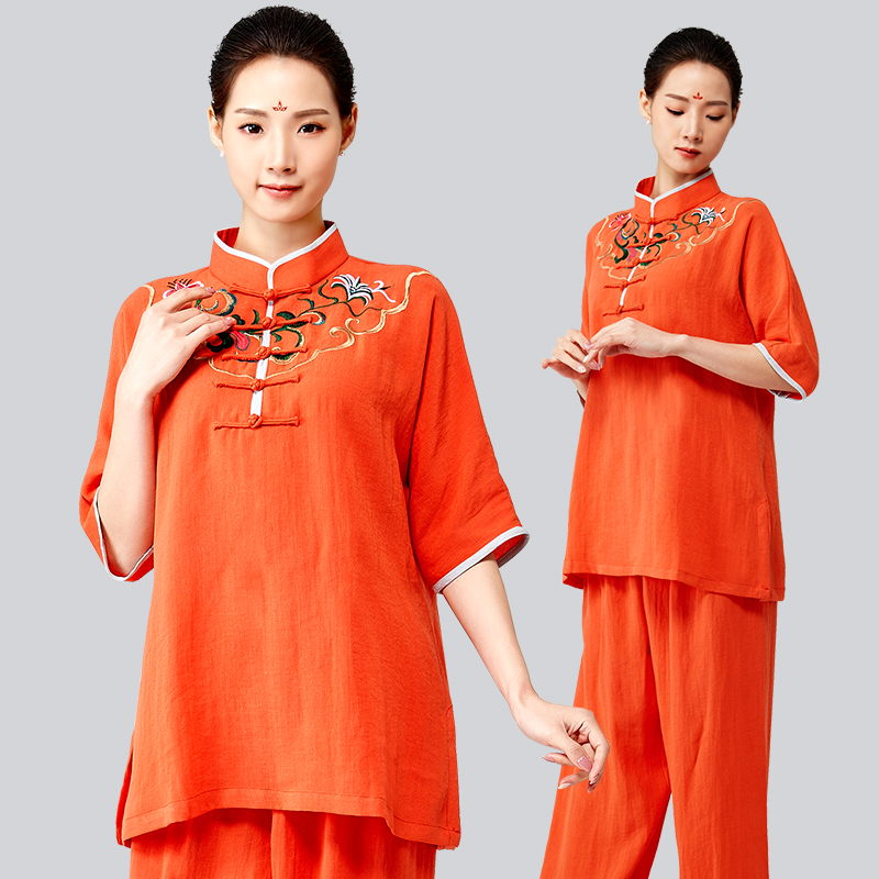 Fund Embroidery Tai Chi Serve Woman And Hemp Half Short Exercises Practice Boxing A Martial Art Serve Style Taiji Boxing