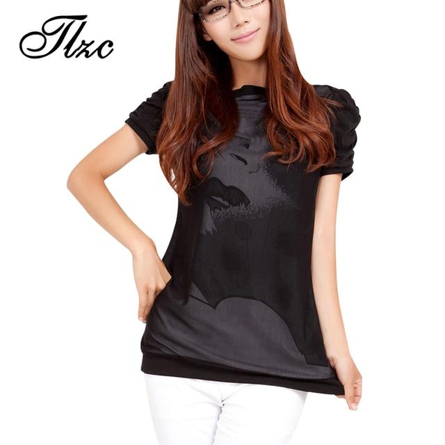 TLZC Lowest Price Korean Women Casual T-Shirt Plus Size 3XL-4XL Print Pattern Puff Sleeve Black Color Lady Cotton Tops