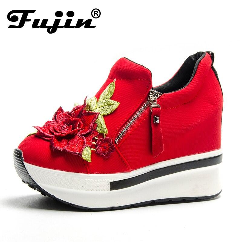 Fujin Crystal chaussures 2019 nouveauté chaussures à talons féminins avec chaussures de fête de fleurs femmes vulcaniser chaussures baskets de mode
