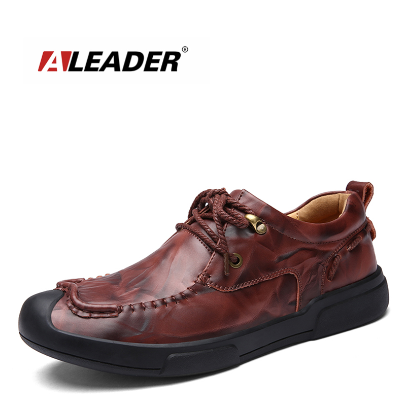 Aleader Herre Læder Casual Sko Fashion Luksus Mærke Sko Mænd Lejligheder Lace Up Sort Mænd Oxfords Business Shoes Zapatos Hombres