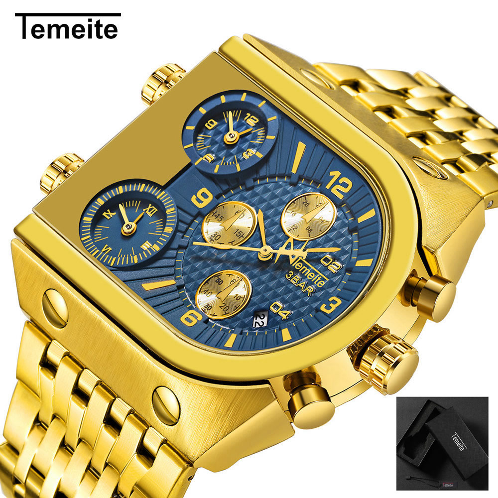 luxury man wristwatches gold blue waterproof military Three time zone Multifunction creative stainless steel quartz Watchesluxury man wristwatches gold blue waterproof military Three time zone Multifunction creative stainless steel quartz Watches