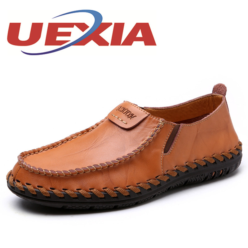 New Arrive Leather Fashion Mens Casual Shoes Cowhide Driving Slip On Loafers Men Handmade Flats Shoes Breathable Zapatos Hombre hot sale mens italian style flat shoes genuine leather handmade men casual flats top quality oxford shoes men leather shoes