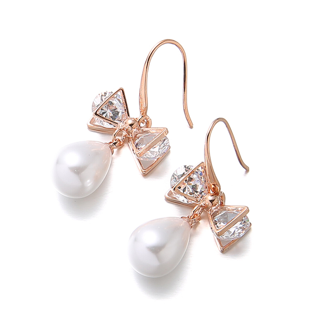 1pair Lot Fashion Rose Gold Crystal Bow Drop Dangle Earrings Brincos Perle Penntes Bou Imitation
