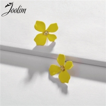 JOOLIM Yellow Blue White Pink Flower Stud Earring Design Wholesale