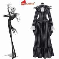 CostumeBuy Film Der Albtraum Vor Weihnachten Jack Skellington Kostüm Erwachsene Phantasie Vintage Streifen Halloween Kleid L920
