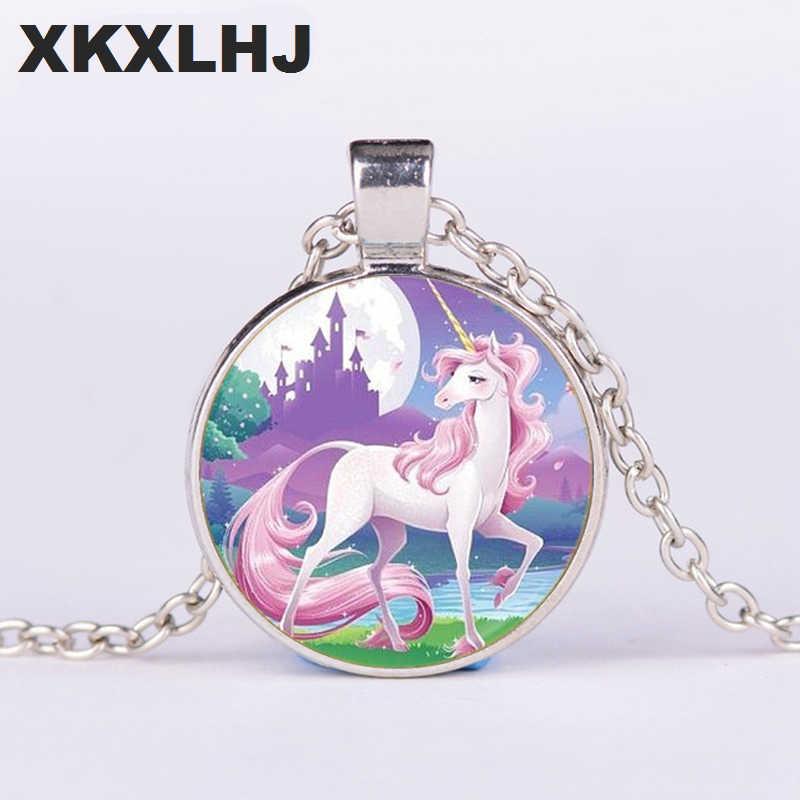 XKXLHJ Cho Phụ Nữ Trẻ Em Món Quà Unicorn Logo Glass Cabochon Đồ Trang Sức Choker Dài Đồng Đôi Cánh Thiên Thần Mặt Dây Chuyền Tuyên Bố Vòng Cổ