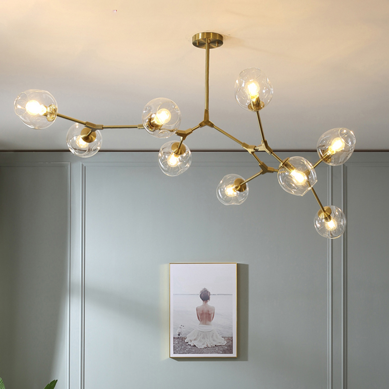 Nordic Modern Chandelier Ceiling Chandelier Lighting Glass bulb for Living  Room Bedroom Light Fixtures Industrial Led Lamp