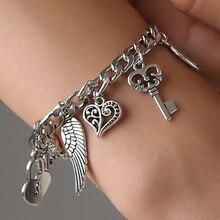 1PC Ancient Silver elephant Wing Lock Flower Key Pendants Bracelet Fashion Jewelry Charm Advaivca Heart Chain
