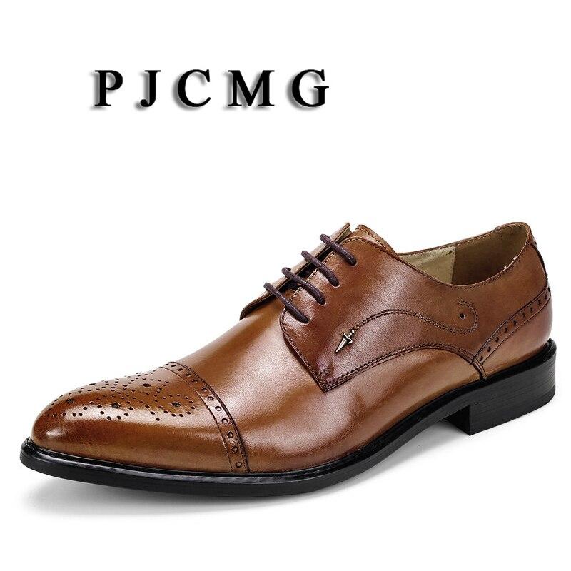 up Pjcmg Do Lace Negócios brown Escritório Homens Casamento Formais Vestido Preto Oxfords amarelo Dedo vermelho Respirável Sapatos Novo marrom De Apontado Dos Couro Black Genuíno 6XYn40xY