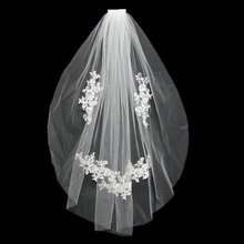 LORIE Tulle Wedding Veils Short With Cut Edge White/ivory Lace Bridal Veil with Comb Free Shipping