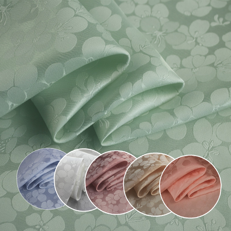 1Meter Silk Cotton Jacquard Fabric Crepe Sampo Satin Peach Material For Dress Clothes 20Momme 114CM Width Blue Green