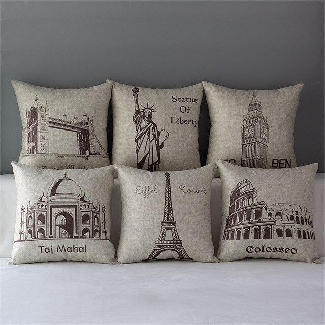 London pillow cover moscow brazil paris rome pisa sydney new york throw pillow case pillowcase