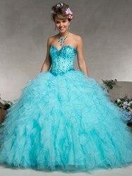 Novo design vestido de baile querida sem mangas azul frisado ruffle organza vestido formal longo baile quinceanera vestido