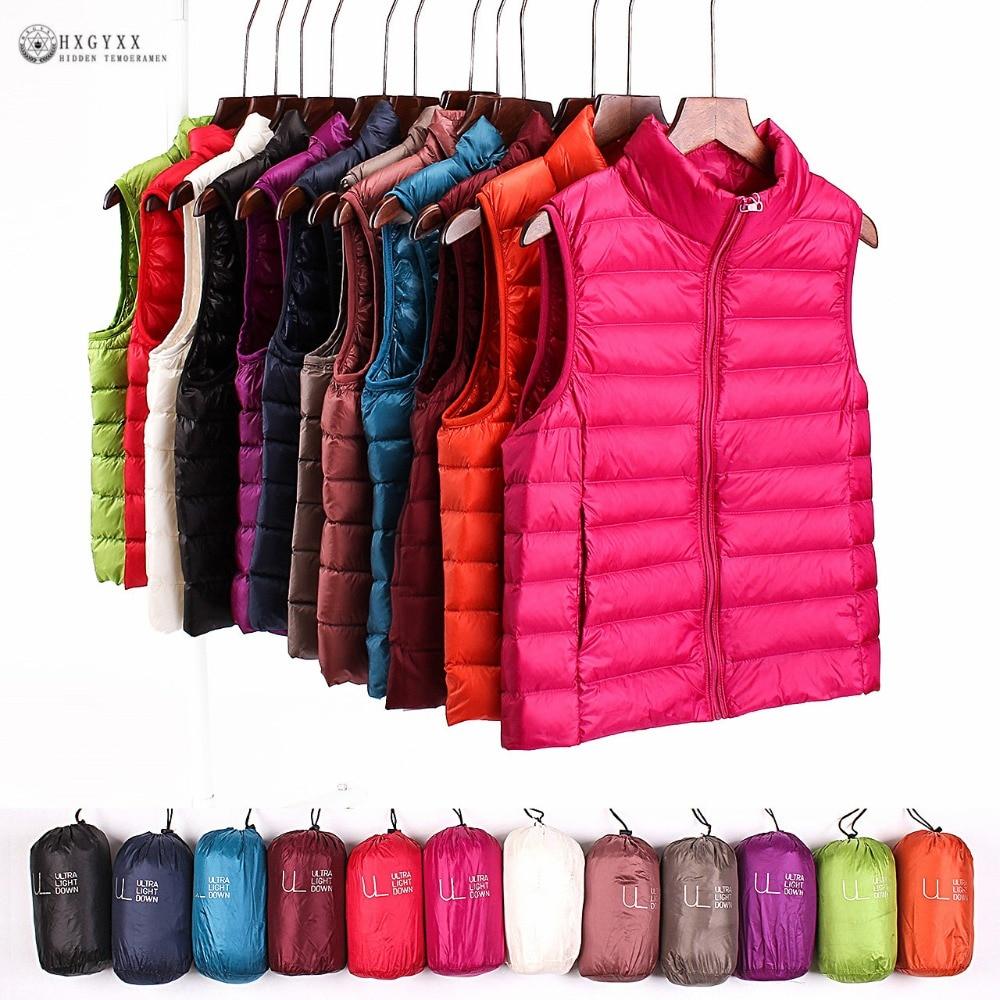 2019 Sleeveless Women Down Jackets Winter Ultralight 90% White Duck Down Vest Coat Slim Parkas Windproof Warm Waistcoat OK389