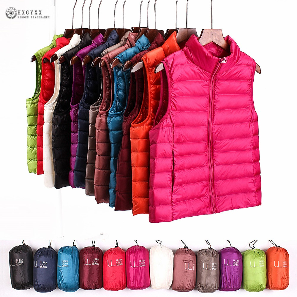 2019 Sleeveless Women   Down   Jackets Winter Ultralight 90% White Duck   Down   Vest   Coat   Slim Parkas Windproof Warm Waistcoat OK389