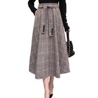 2018 Autumn Winter Vintage Wool Skirt Womens Elegant Ladies Slim A Line High Waist Thick Swing Maxi Long Plaid Skirts with Sash