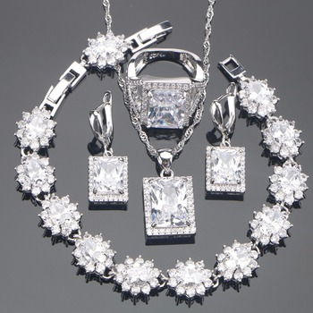 White Zirconia Silver 925 Bridal Jewelry Sets