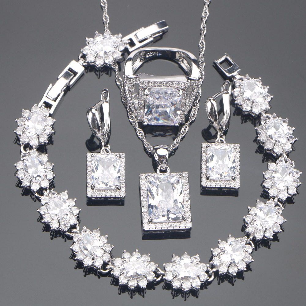 White Zirconia Silver 925 Bridal Jewelry Sets Stone Earrings Bracelet Pendant Ring Necklace For Women Set Jewellery Gift Box viennois new blue crystal fashion rhinestone pendant earrings ring bracelet and long necklace sets for women jewelry sets