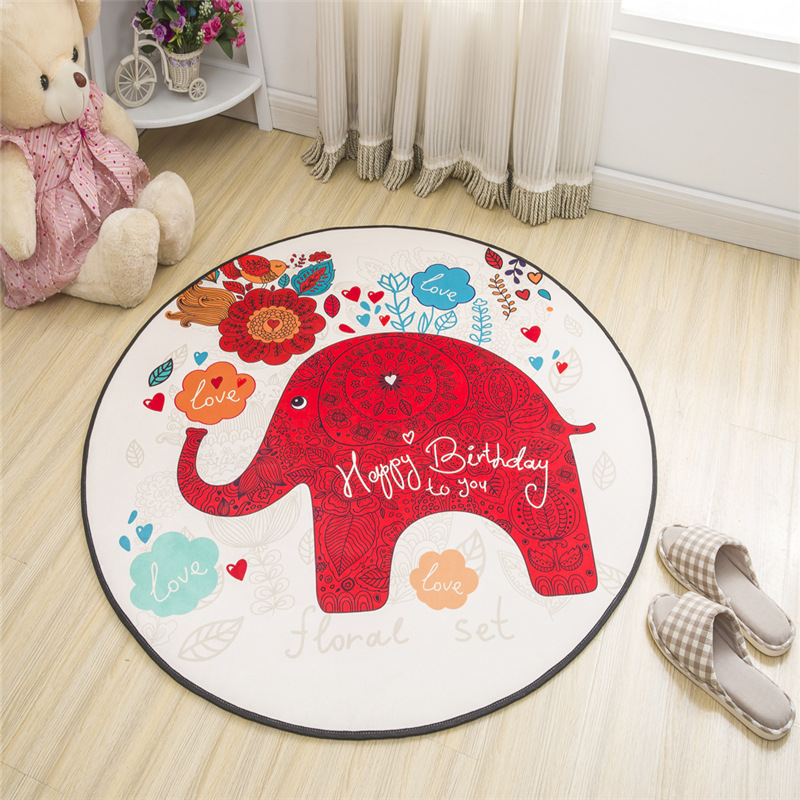 Zeegle Cartoon Kids Bedroom Carpets Anti-slip Baby Crawling Mats Child Room Rugs Soft Play Floor Mats Living Room Round Carpets