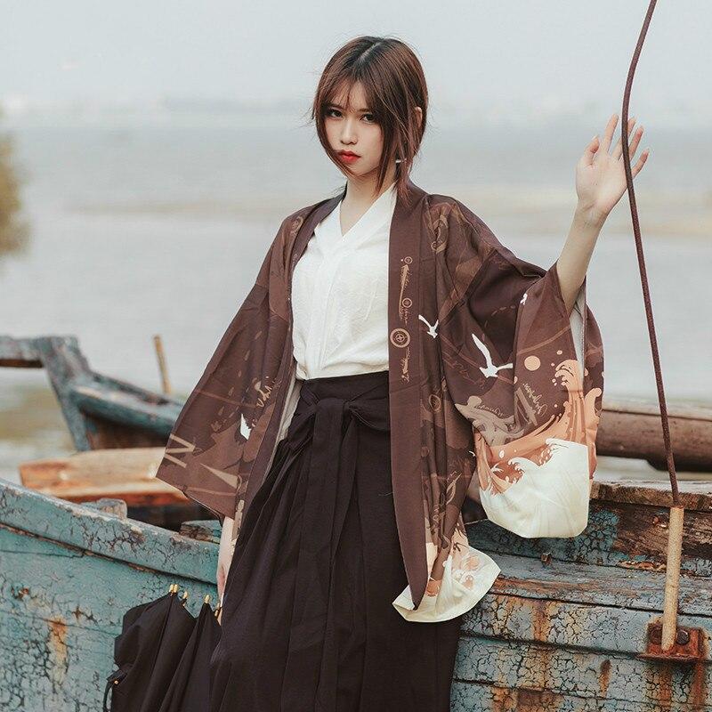 Женское японское кимоно большого размера, уличная футболка, блузка, 2019 Блузки и рубашки      АлиЭкспресс