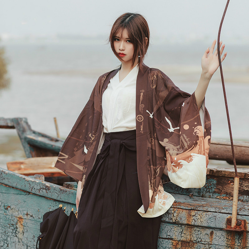 Women Chiffon Japanese Kimono Cardigan tunic Printed harajuku Sleeve Blouse Summer Shirts Beach Cover Up Tops Boho Loose Ladies in Blouses amp Shirts from Women 39 s Clothing