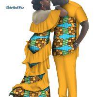 Африканский принт Длинные платья для Для женщин Базен Riche Мужская рубашка и брюки наборы Lover пары одежда в африканском стиле Стиль Костюмы