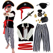 Bobasatop Pirate Costume for Kids with Accessories Set Eyepatch Dagger Compass Purse Earring Gold Medallion
