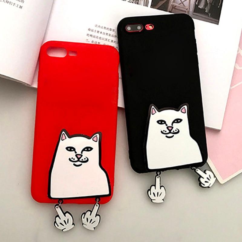 Cartoon Middle Finger Cat Case For Google Pixel 2 XL Pixel2 Funny Cute Cat Soft TPU Case